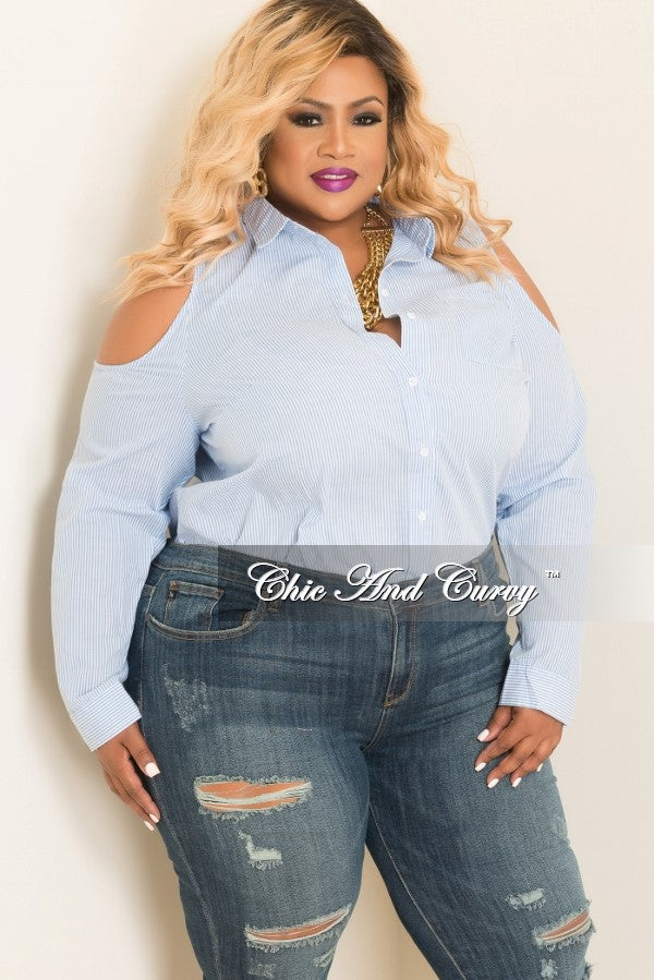New Plus Size Cold Shoulder Button Up Collar Top in Blue and White
