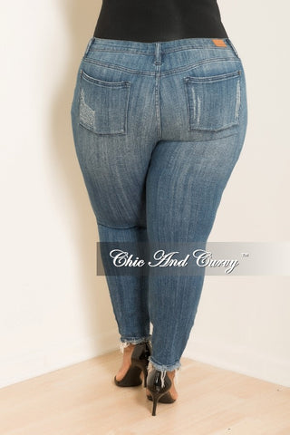 New Plus Size Denim Distressed Jeans