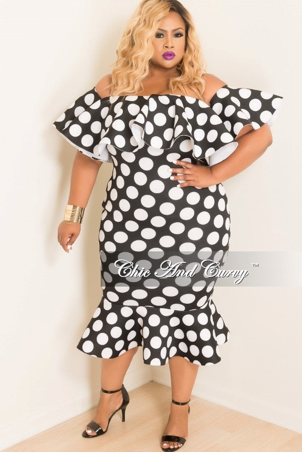 Final Sale Plus Size Off the Shoulder Ruffle BodyCon Dress in Black Scuba with White Polka Dots
