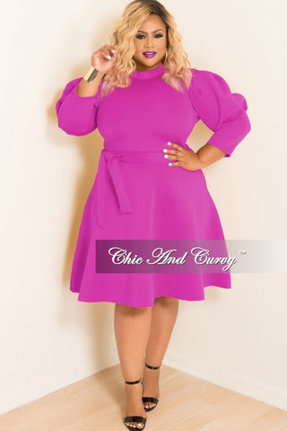New Plus Size Skater Dress with Puffy Sleeves and Attached Tie in Hot Pink