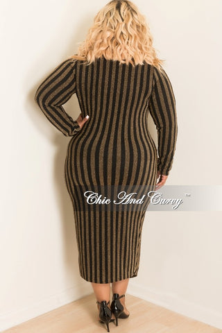 New Plus Size Deep V-Neck Cross Front BodyCon Dress in Gold and Black