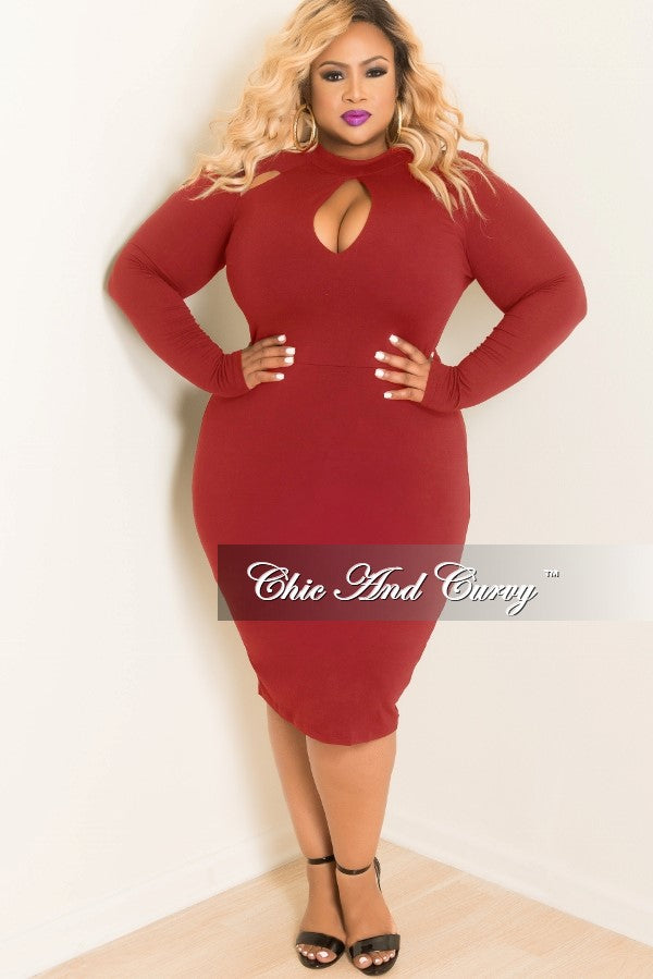 6555a617614 Final Sale Plus Size BodyCon Dress with Top Cutouts in Burgundy – Chic And  Curvy