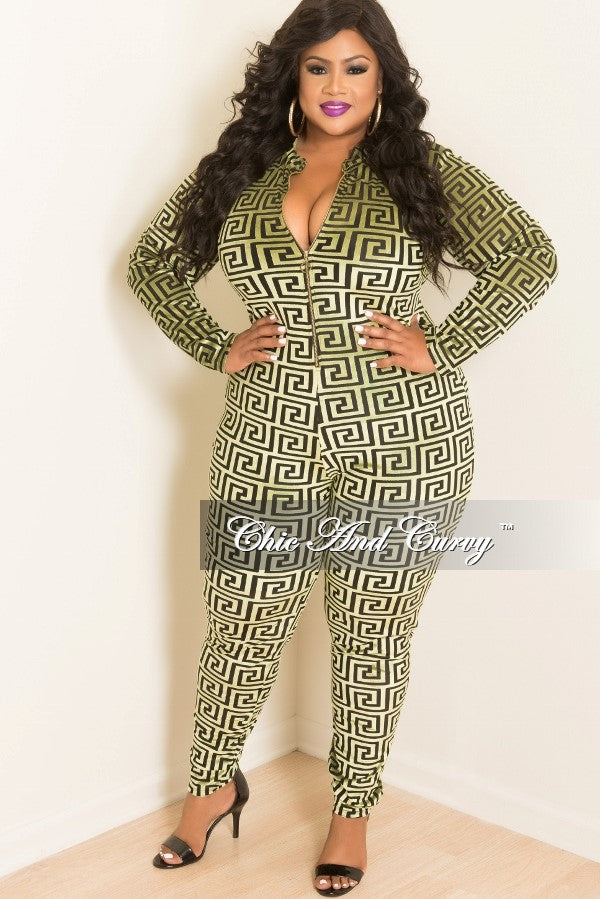 078c4be9573e Final Sale Plus Size Velvet Jumpsuit with Front Gold Zipper in Green and  Black