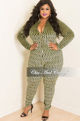 Final Sale  Plus Size Velvet Jumpsuit with Front Gold Zipper in Green and Black
