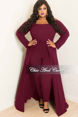 New Plus Size Off the Shoulder Jumpsuit with Attached Long Skirt in Burgundy