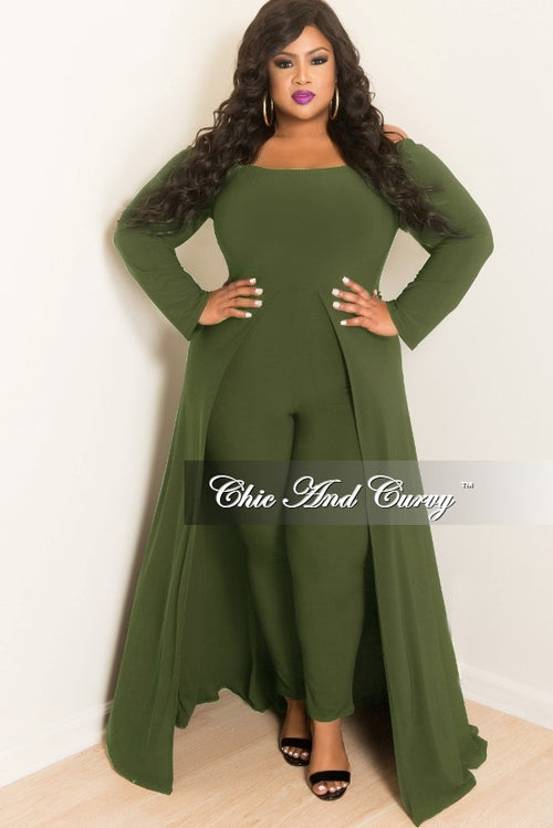 Final Sale Plus Size Off the Shoulder Jumpsuit with Attached Long Skirt in Olive