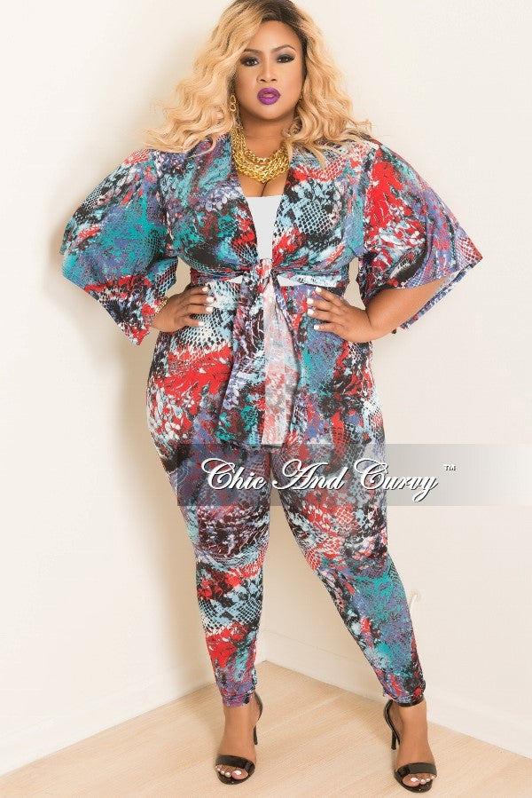 35% Off Sale - Final Sale Plus Size 2 piece Kimono and Pants Set in Multi Color Animal Print