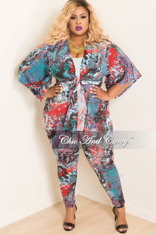 Final Sale Plus Size 2 piece Kimono and Pants Set in Multi Color Animal Print