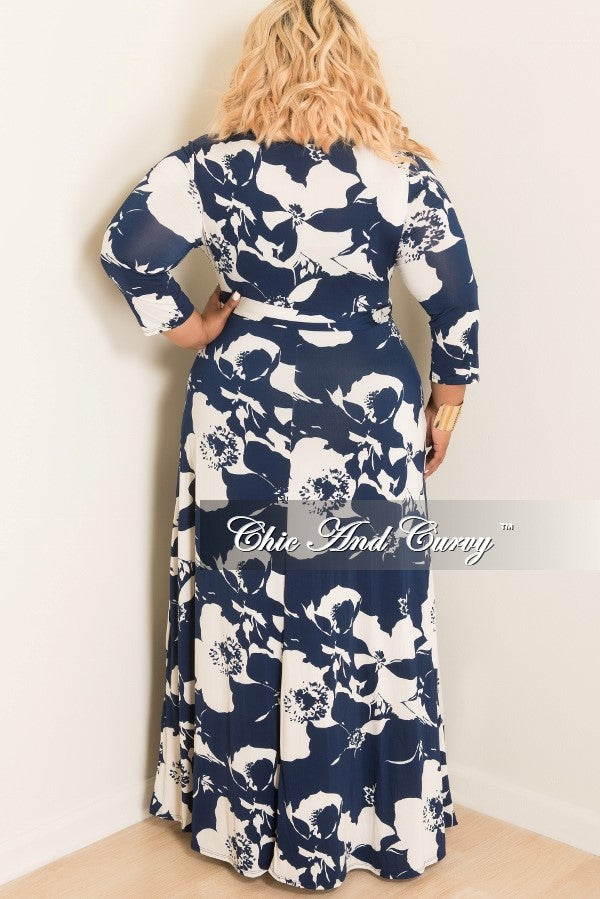 New Plus Size Floral Deep V-Neck Faux Dress with 3/4 Sleeves in Blue and Off White