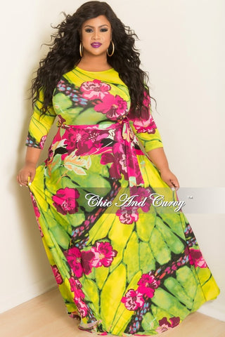 Final Sale Plus Size Long Dress with 3/4 Sleeve and Tie in Green and Pink Floral Print