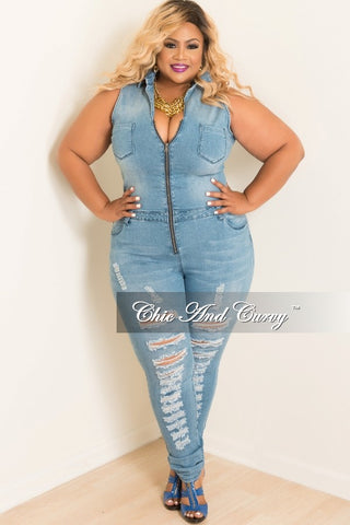 50% Off Sale - Final Sale Plus Size Distressed Jumpsuit in Denim