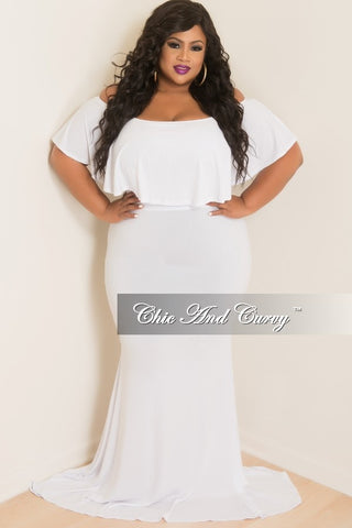 Final Sale Plus Size BodyCon Long Dress with Off the Shoulder Ruffle in White