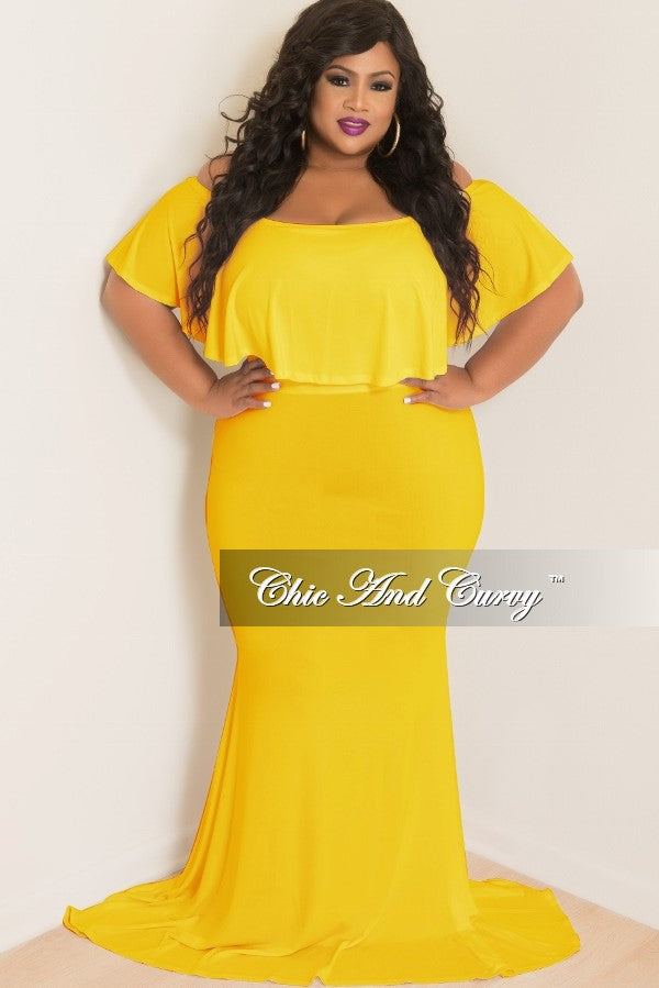 new plus size bodycon long dress with off the shoulder ruffle in
