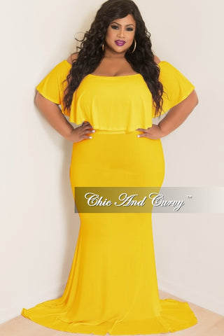 New Plus Size BodyCon Long Dress with Off the Shoulder Ruffle in Yellow
