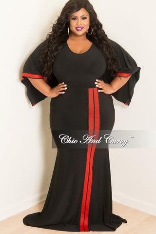New Plus Size Long BodyCon Dress with Attached Draping Cape in Black and Red