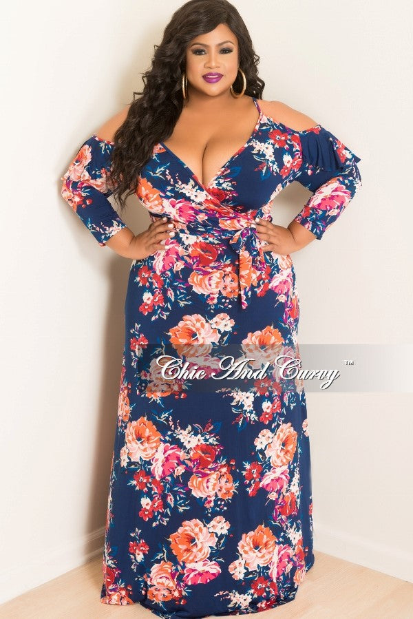 New Plus Size Off the Shoulder Floral Deep V-Neck Faux Dress with 3/4 Sleeves in Blue, Red, Purple, Pink, Orange and Royal Blue