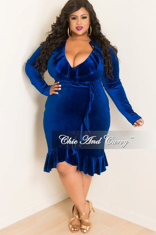 New Plus Size Faux Wrap Velvet Ruffle Dress in Royal Blue