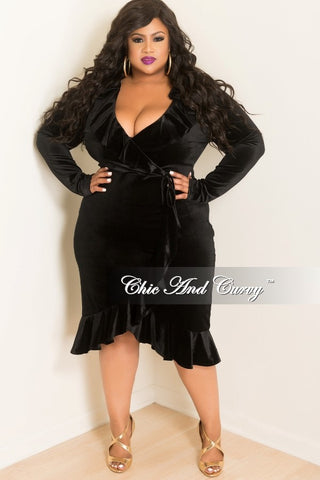 New Plus Size Faux Wrap Velvet Ruffle Dress in Black