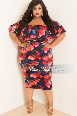 New Plus Size Off the Shoulder Ruffle BodyCon Dress in Navy and Red Floral Print