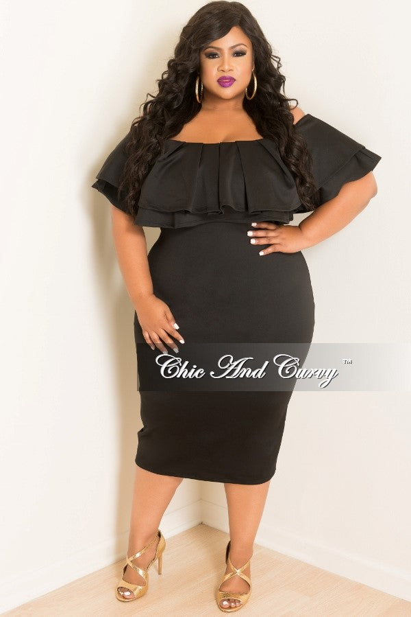 Final Sale Plus Size Off the Shoulder Ruffle BodyCon Dress in Black