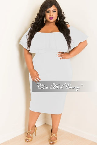 Final Sale Plus Size Off the Shoulder Ruffle BodyCon Dress in White
