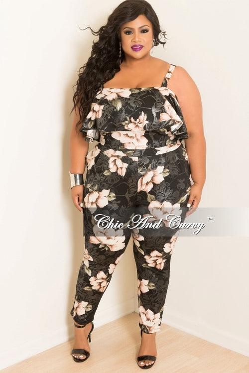 Final Sale Plus Size Spaghetti Strap 2-Piece Ruffle Top and Pants Set in Black and Pink
