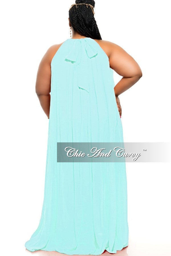 New Plus Size Long Halter Dress with Back Tie in Aqua