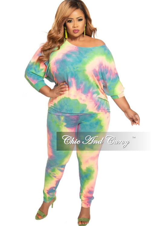 New Plus Size 2-Piece Wide Neck Top and Pants Set in Multi Color Tie Dye