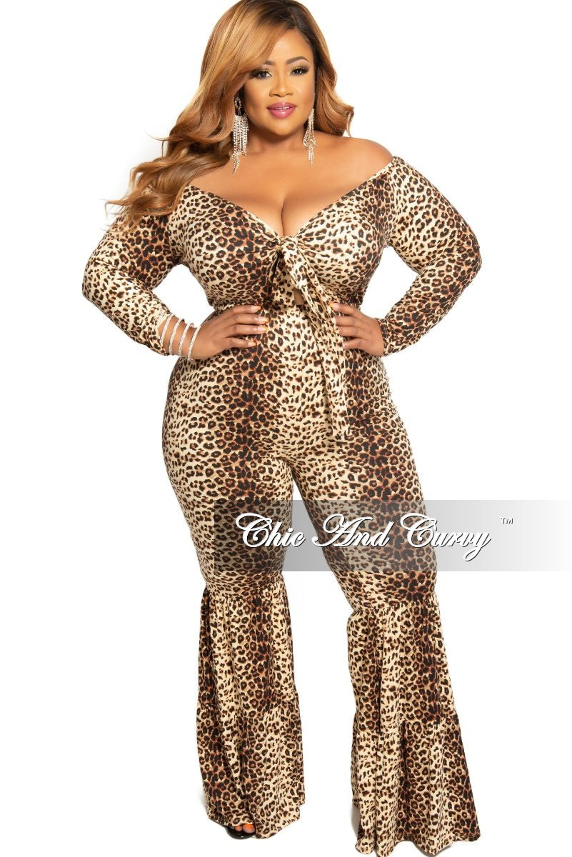 New Plus Size Bow Tie Bell Bottom Jumpsuit in Animal Print