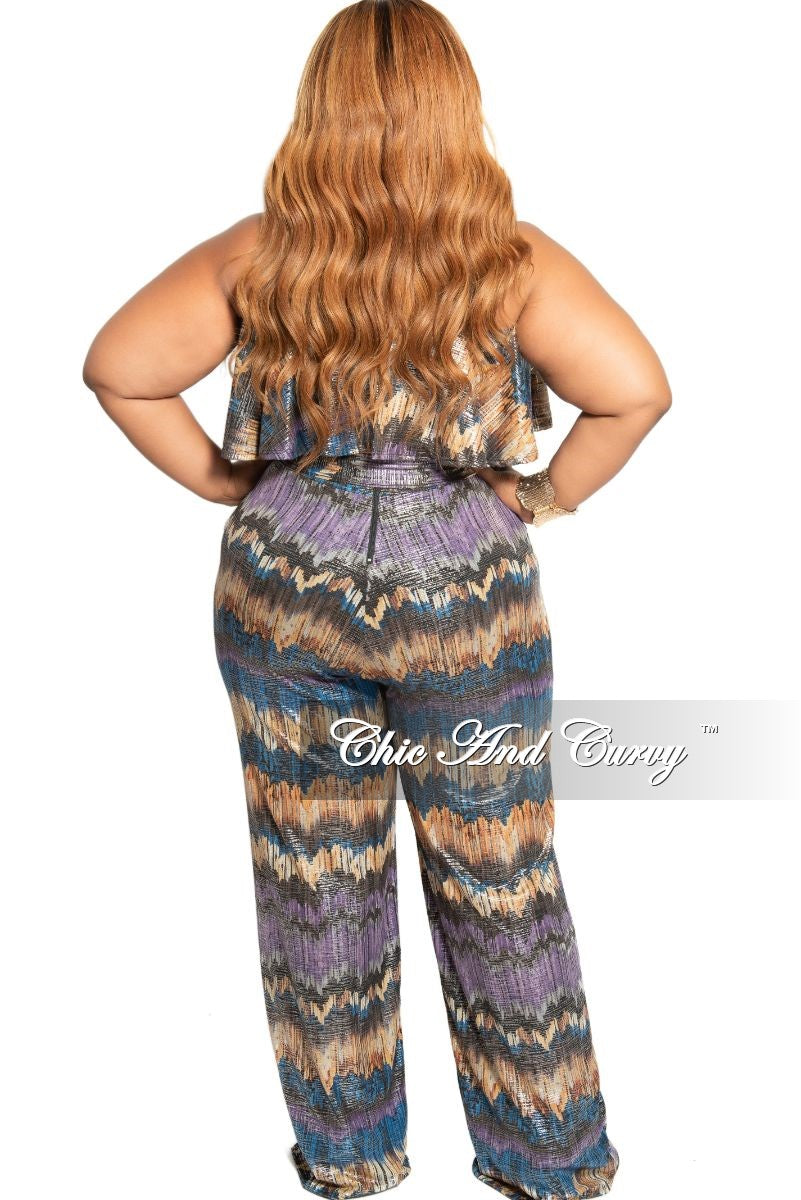 Final Sale Plus Size Strapless Ruffle Overlay Jumpsuit with Attached Tie in Brown Purple and Royal Blue Design Print