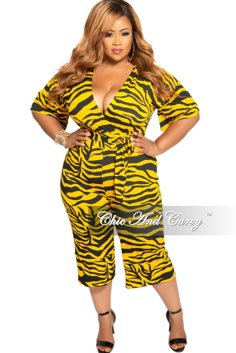 New Plus Size Faux Wrap Jumpsuit with Attached Tie in Black and Yellow Zebra Print