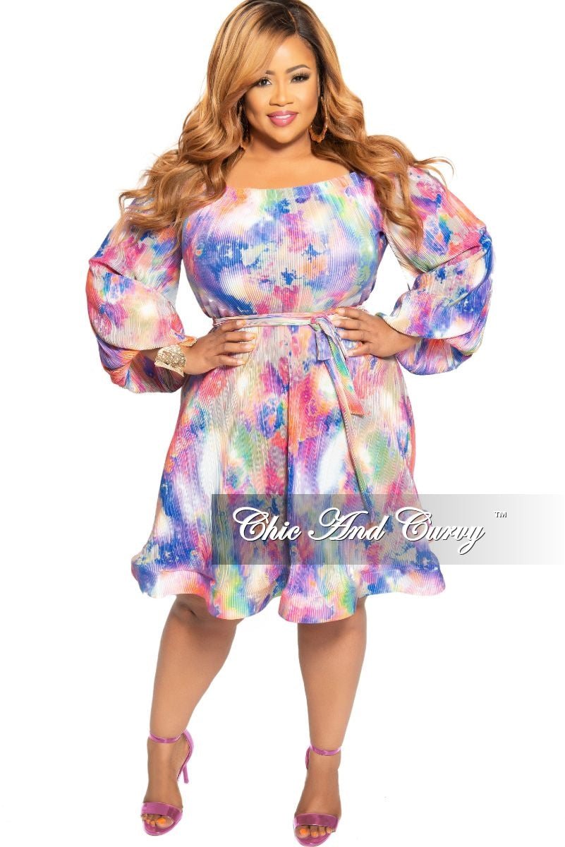 New Plus Size Off the Shoulder Pleated Flare Dress with Attached Tie in Multi Color Print