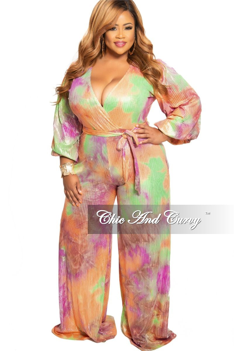 New Plus Size Faux Wrap Peasant Sleeve Jumpsuit with Attached Tie in Orange Purple Green and Gold Foil Tie Dye Print