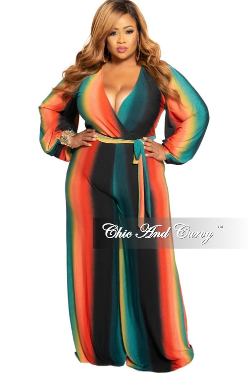 New Plus Size Faux Wrap Jumpsuit with Attached Tie in Orange Mustard and Teal Ombré