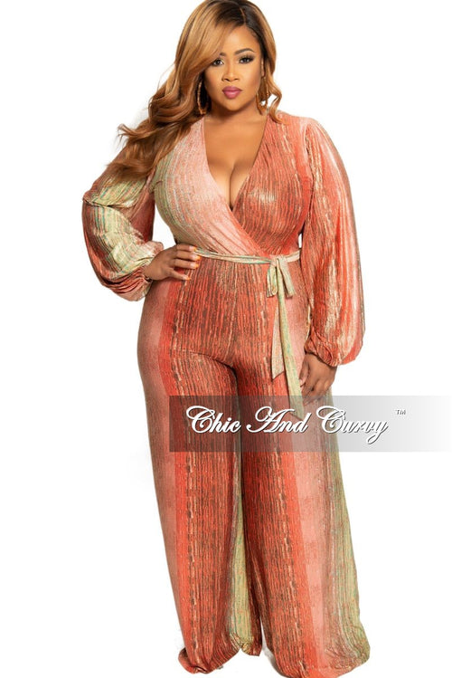 New Plus Size Faux Wrap Jumpsuit with Attached Tie in Orange Coral Green and Gold Print