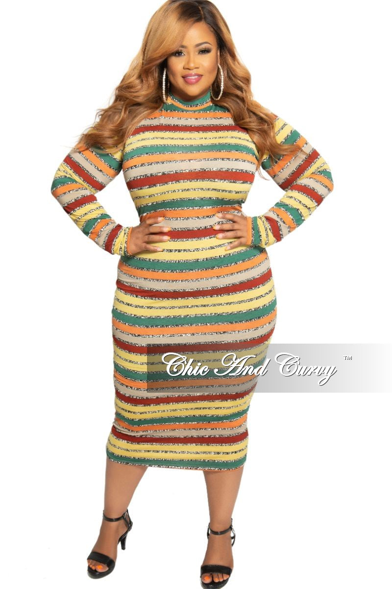 New Plus Size Mock Neck BodyCon Dress in Mustard Green Orange and Burgundy Stripe Print