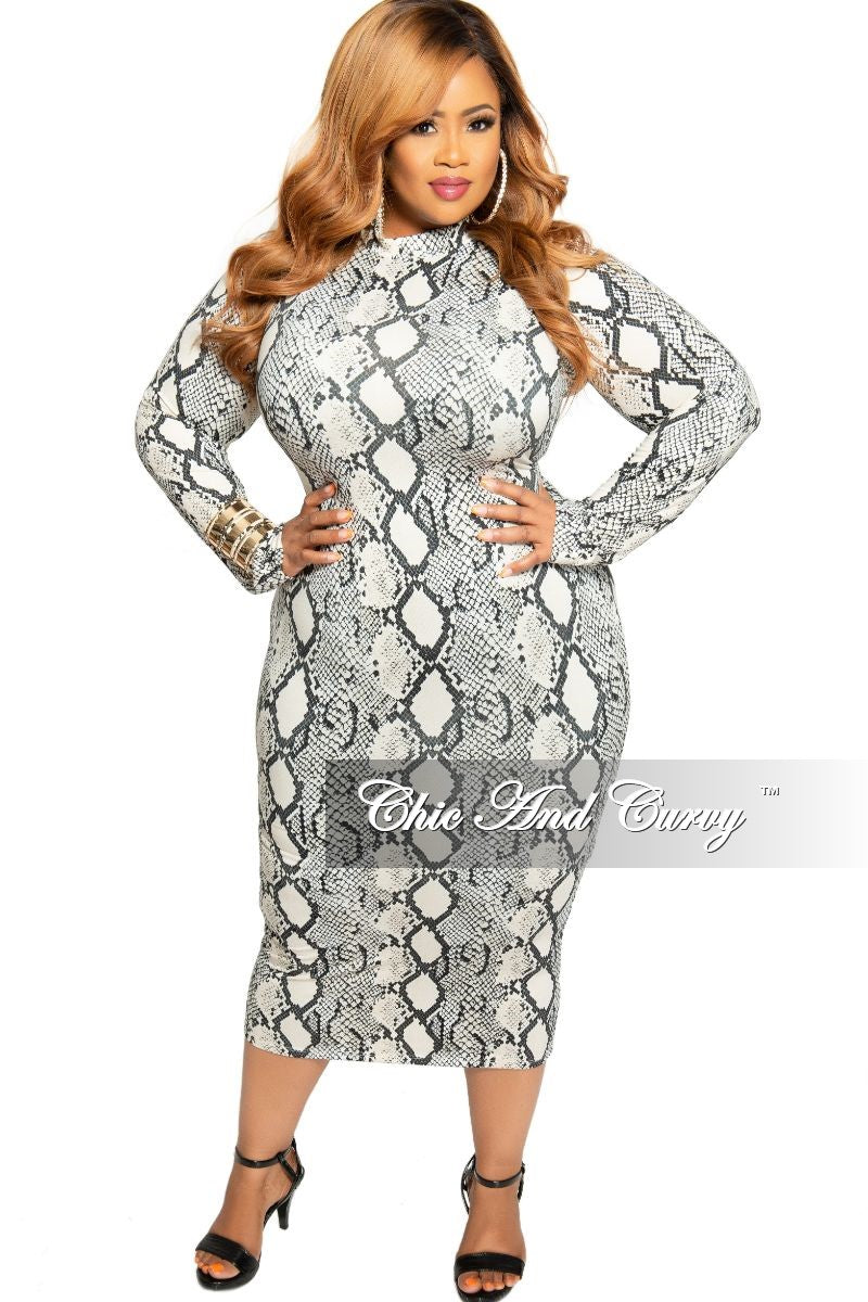 New Plus Size Mock Neck BodyCon Dress in Black White and Beige Snake Print