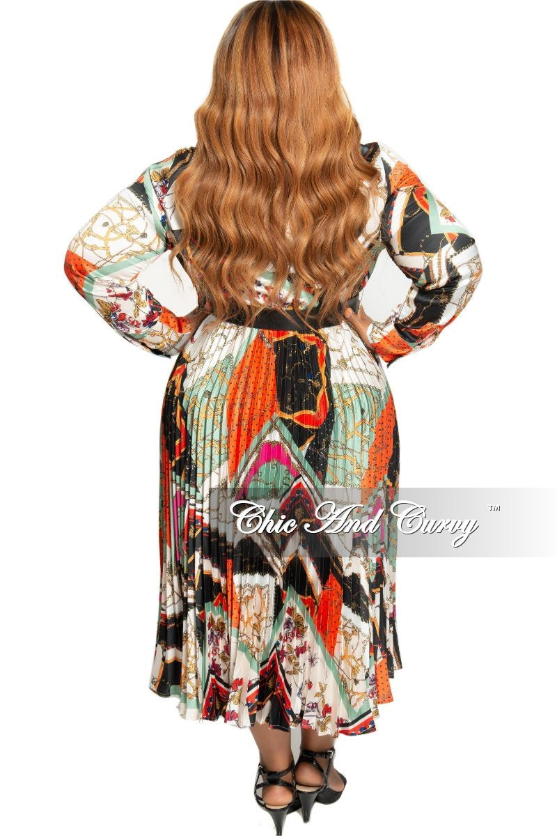 Final Sale Plus Size Collared Faux Wrap Pleated Dress in Multi Color Design Print