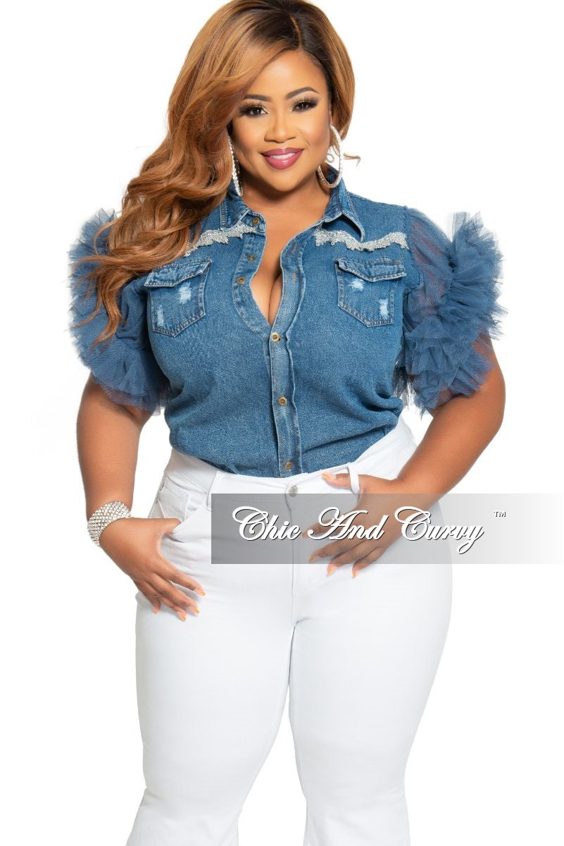 Final Sale Plus Size Dark Denim Button Top with Blue Tulle Sleeves