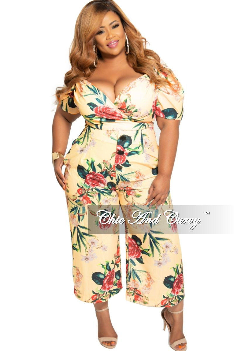 New Plus Size 2-Piece Faux Wrap Crop Top and High Waist Pants Set in Yellow Floral Print