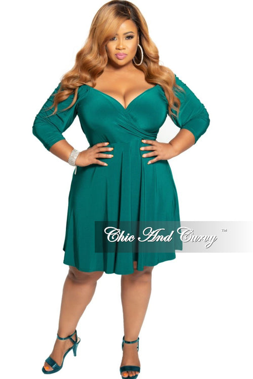 New Plus Size Off the Shoulder Faux Wrap Skater Dress in Hunter Green