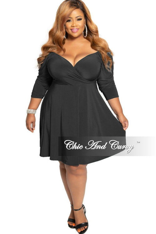 New Plus Size Off the Shoulder Faux Wrap Skater Dress in Black