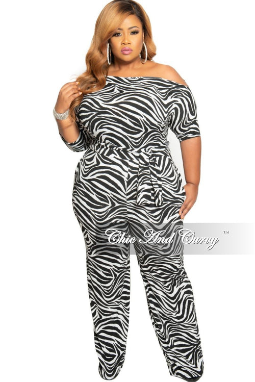 Final Sale Plus Size Jumpsuit with Attached Tie in White and Black Zebra Print