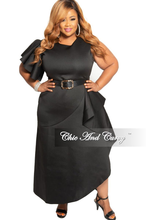 New Plus Size One Sided Ruffle Sleeve Scuba Dress with Ruffle Overlay Split in Black