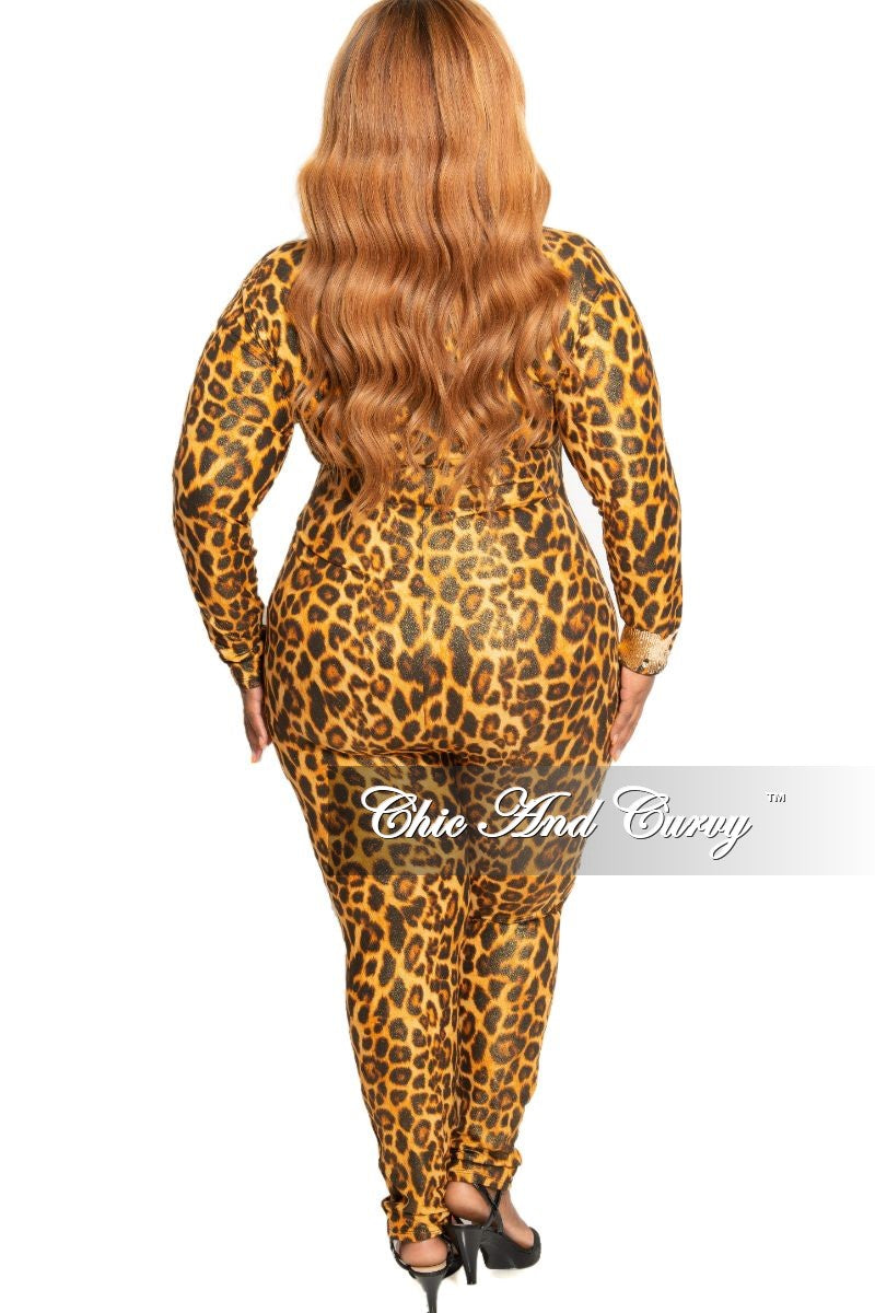 Final Sale Plus Size Zip-Up Shimmer Jumpsuit in Gold Shimmer Animal Print