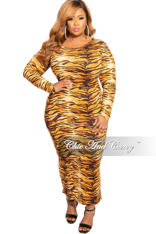 New Plus Size Long Sleeve BodyCon Dress with Back Slit in Tiger Print