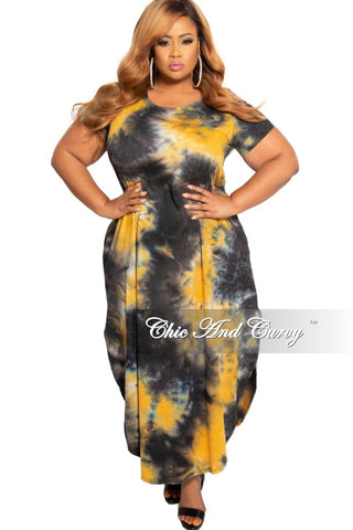 Final Sale Plus Size Faux Wrap Chiffon Maxi with Tie in Yellow Snake Print