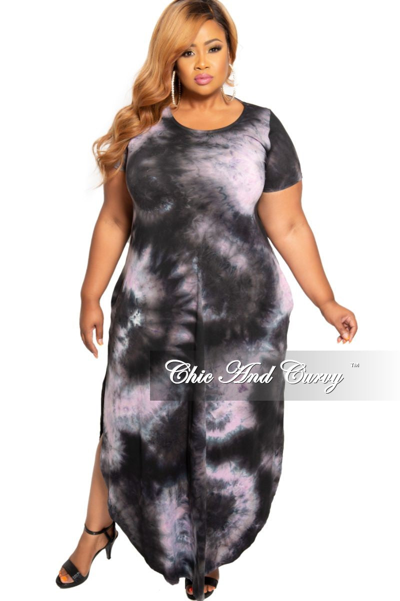 Final Sale Plus Size Pocket Maxi with Bottom Slits in Purple and Black Tie Dye Print