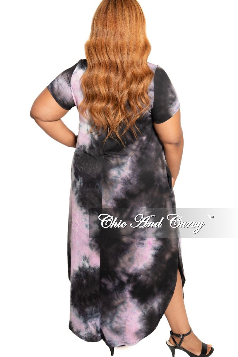 New Plus Size Pocket Maxi with Bottom Slits in Purple and Black Tie Dye Print