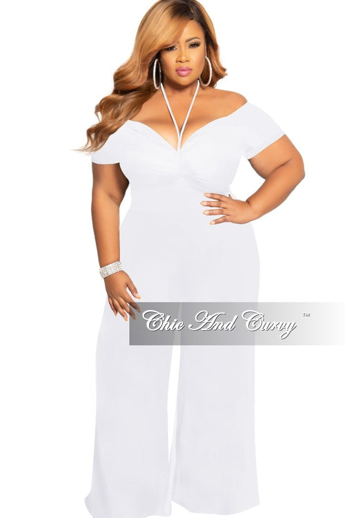 Final Sale Plus Size Chic And Curvy Exclusive Ruched Drawstring Jumpsuit in White